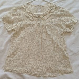 Vintage Lace and Pearl Shirt, Size M